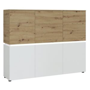 Luci 6 Doors White and Oak Cabinet with LED Lighting