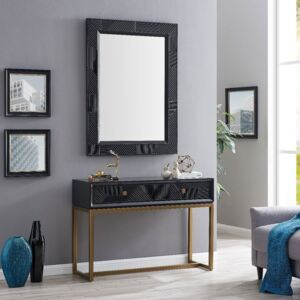 Orlando Black Gloss Finish 2 Drawers Console Table