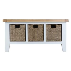 Tattershall Oak Top 3 Basket Unit Hall Bench in White