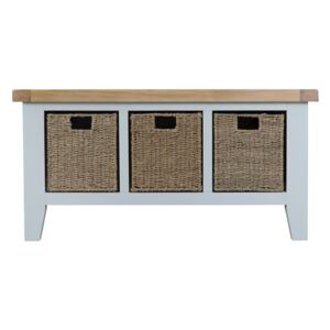 Tattershall Oak Top 3 Baskets Unit Hall Bench in Grey