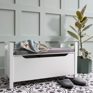 White Hallway Bench with Cushion