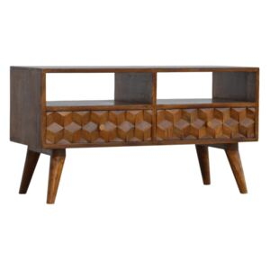 Williston 2 Drawers Cube Carved TV Unit