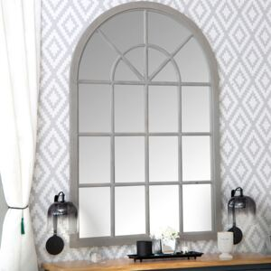 Toulouse Small Grey Arched Window Mirror 90 x 135cm