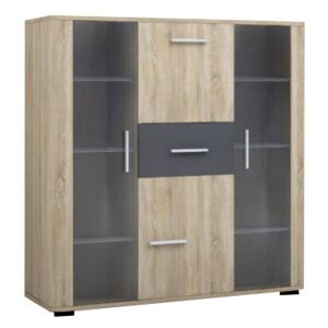 FURNITOP Chest of Drawers with Glass Front FILL FL2