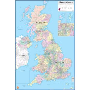 Wallpops Laminated British Isles Map with Dry Erase Pen
