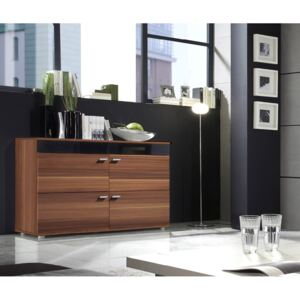 FURNITOP Chest of Drawers LOGO 2D plum / black gloss