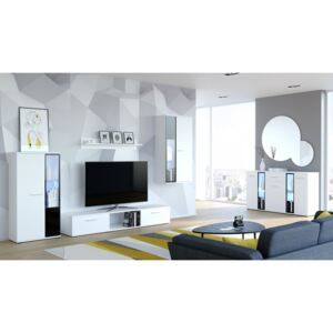 FURNITOP Living Room Set: Wall Unit + Chest of Drawers SALSA white