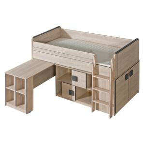 FURNITOP Bunk Bed with Desk and Cabinet GUMI GM19