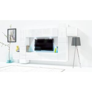 FURNITOP Wall Unit ONLY 5 white gloss