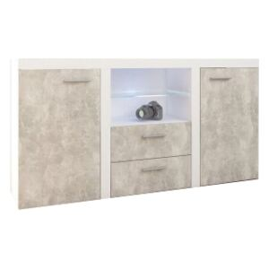 FURNITOP Chest of Drawers RUMBA/RODOS 2D2SZ light concreto/white