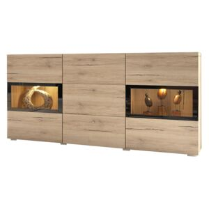 FURNITOP Chest of drawers BAROS oak san remo clear