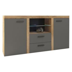 FURNITOP Chest of Drawers RUMBA/RODOS 2D2SZ graphite/lefkas