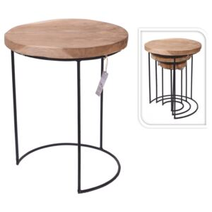 Home&Styling 3-Piece Side Table Set Teak and Metal
