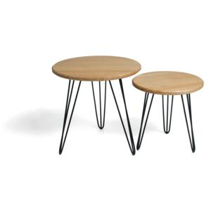FURNITOP Wooden Table set ROUND L + M