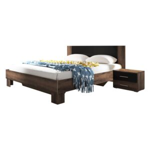 FURNITOP Bed 160 with 2 bedside tables VERA VE51 monastery oak / black