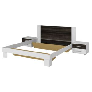 FURNITOP Bed 160 with 2 bedside tables VERA VE51 white / black walnut