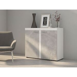 FURNITOP Chest of Drawers RUMBA/RODOS 2D Light Concreto / White