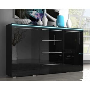 FURNITOP Chest of drawers AMBER Black gloss