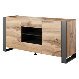FURNITOP 2 Drawer Combi Chest WOOD oak wotan / antracite
