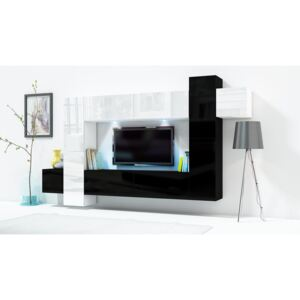FURNITOP Wall Unit ONLY 5 white / black gloss
