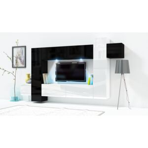 FURNITOP Wall Unit ONLY 5 black / white gloss