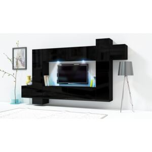 FURNITOP Wall Unit ONLY 5 black gloss
