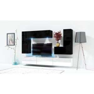 FURNITOP Wall Unit ONLY 3 black / white gloss