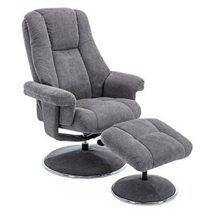 Troyes Fabric High-Back 360 Swivel Chair and Footstool - Grey