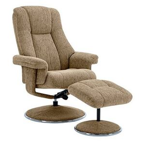Troyes Fabric High-Back 360 Swivel Chair and Footstool - Brown