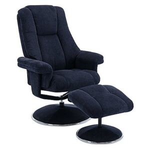 Troyes Fabric High-Back 360 Swivel Chair and Footstool - Blue