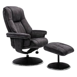 Troyes Fabric High-Back 360 Swivel Chair and Footstool - Black