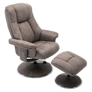 Troyes Fabric High-Back 360 Swivel Chair and Footstool