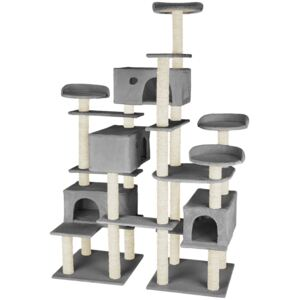 Tectake 403920 cat tree entissar, adventure towers for cats with scratching posts - grey