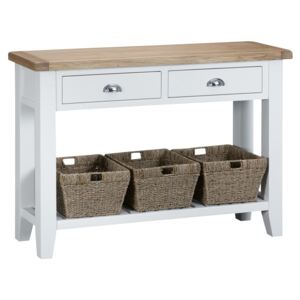 Suffolk White Painted Oak Large Console Table with Wicker Baskets