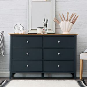 Bergen Blue Painted Oak Chest of 6 Drawers