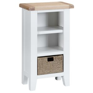 Suffolk White Painted Oak Small Narrow Bookcase with Wicker Baskets