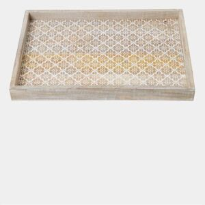 Large Dahlia Sun Wooden Tray - terracotta and white