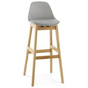 Oak Frame Contemporary Faux Leather Bar Stool
