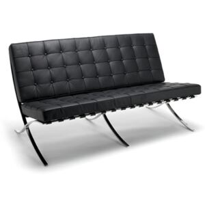 Mies van Der Rohe Barcelona Style Black Leather 3 Seater Sofa