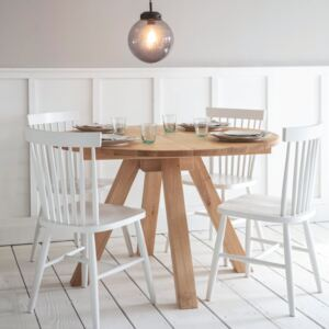 Round Raw Oak Dining Table Brown