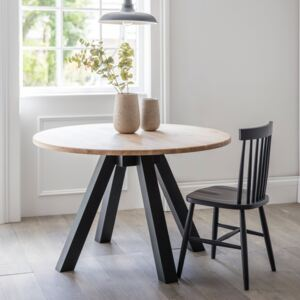 Round Raw Oak Dining Table Carbon