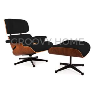 Eames Style Contemporary Leather Lounge Chair & Ottoman Stool Walnut w/ Silver Base