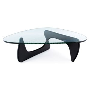Isamu Noguchi Style Modern Coffee Table with Glass Top Black