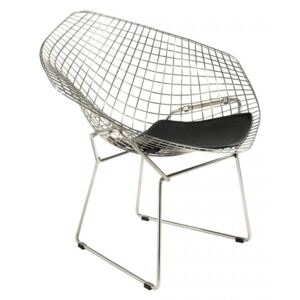 Bertoia Inspired Diamond Chrome Wire Chair With Leather Seat White