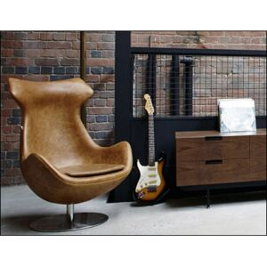 Real Leather Egg Style Chair Brown