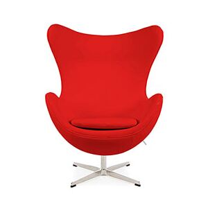 Retro Real Leather Arne Jacobsen Style Egg Chair Red