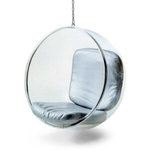 Funky Transparent Eero Aarnio Style Hanging Bubble Chair Silver PU