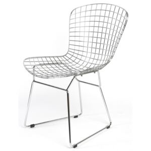 Harry Bertoia Style Steel Wire Chair with Leather Cushion White