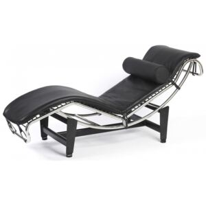 Corbusier Style Leather Modern LC4 Chaise Longue Black