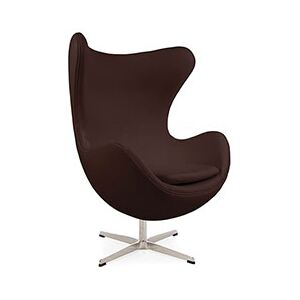 Retro Real Leather Arne Jacobsen Style Egg Chair Brown